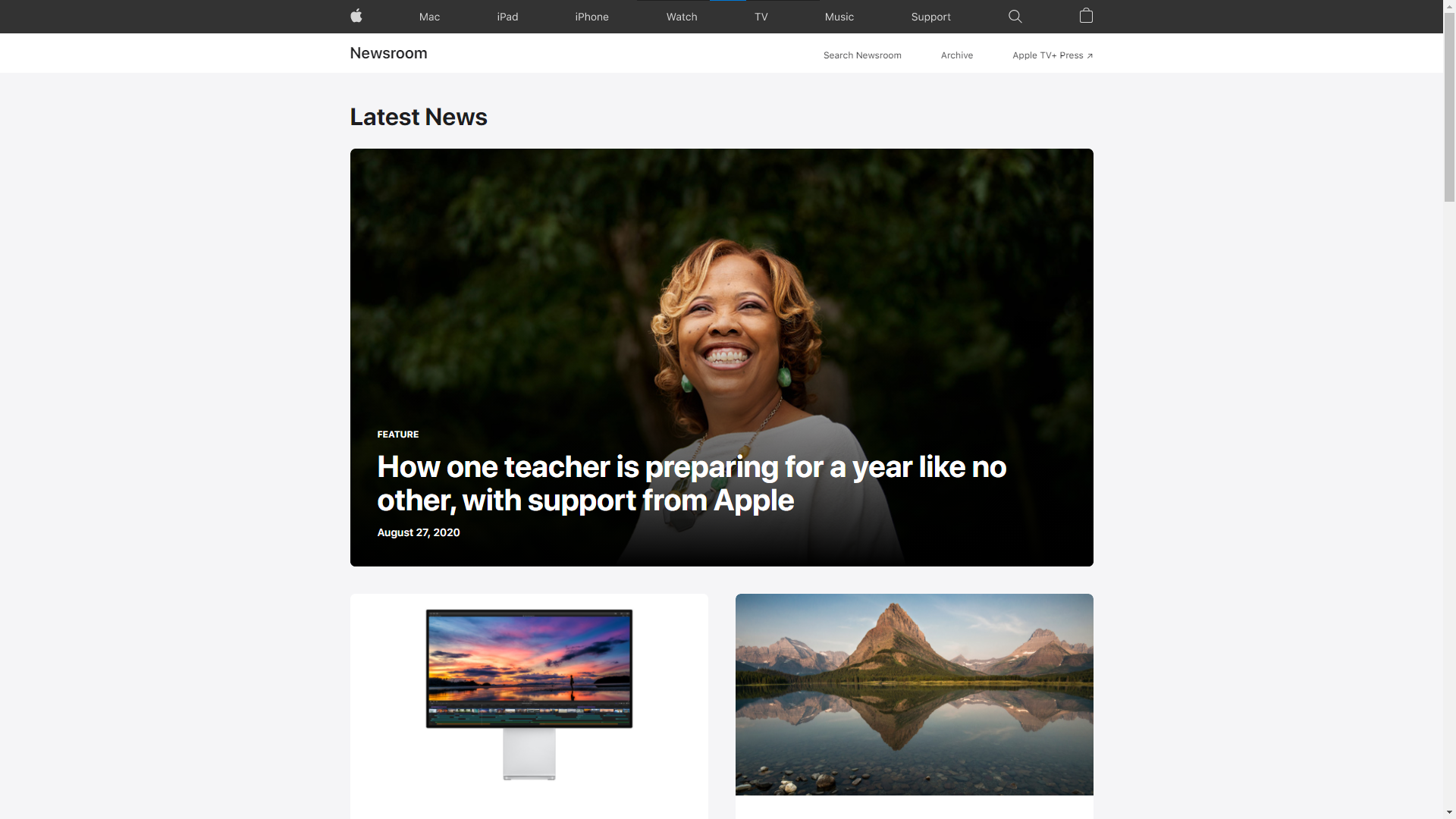 A screenshot of Apple Newsroom's new UI